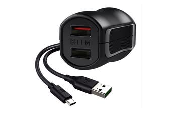 EFM 17W Dual Wall Charger with Flipper Micro USB Cable - Black