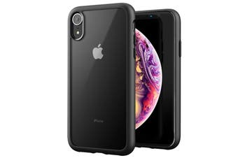 ZUSLAB iPhone XR Case Tough Fusion Shock Absorption Rubber Bumper Protective Case Transparent Hard Back Clear Cover for Apple - Matte Black