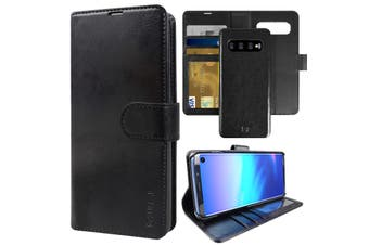 ZUSLAB Galaxy S10 Genuine Leather Detachable Case with Credit Card Holder Slot Wallet for Samsung - Black
