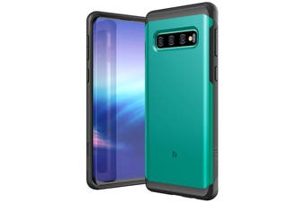 ZUSLAB Galaxy S10 Hybrid Shield Case Shockproof with Built in Soft TPU Rubber Cover for Samsung - Lake Green