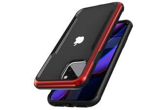 ZUSLAB iPhone 11 Pro Case Iron Shield Military Grade with Aluminum Frame & Shockproof Transparent Back Cover for Apple - Black & Red