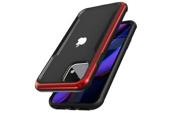 ZUSLAB iPhone 11 Case Iron Shield Military Grade with Aluminum Frame & Shockproof Transparent Back Cover for Apple - Black & Red