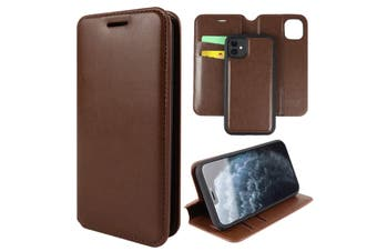 ZUSLAB iPhone 11 Leather Wallet Case Detachable Kickstand Magnetic with Credit Card Holder Slot & Shockproof Interior Protective Cover - Brown