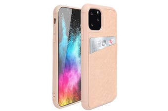 ZUSLAB iPhone 11 Pro Fashion Back Leather Case Card Slot Holder Rubber Bumper Protective Cover for Apple - Rose Gold Cross