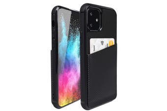 ZUSLAB iPhone 11 Fashion Back Leather Case Card Slot Holder Rubber Bumper Protective Cover for Apple - Carbon Fiber Black