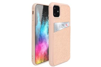 ZUSLAB iPhone 11 Fashion Back Leather Case Card Slot Holder Rubber Bumper Protective Cover for Apple - Rose Gold Cross