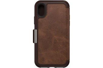 Otterbox iPhone X/XS Strada Series Folio Case Premium Leather Cash or Card Slot Cover for Apple - Espresso Brown