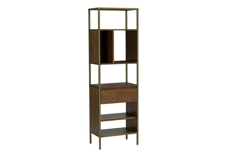 WILLINGHAM Bookcase - Brass & Wood