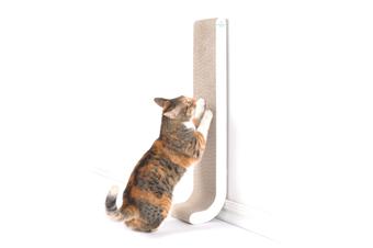 Wall Mounted Cat Scratch Post, Cardboard Scratcher, White - White