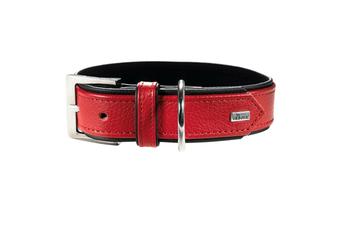 Hunter Premium Capri Leather Dog Collar, Small to Large Breeds - Red/Black / 35 (24-29cm)