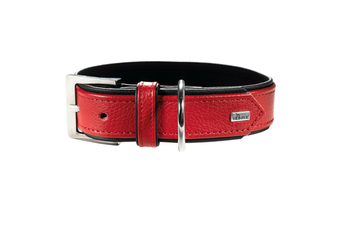 Hunter Premium Capri Leather Dog Collar, Small to Large Breeds - Red/Black / 40 (29-35cm)
