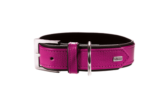Hunter Premium Capri Leather Dog Collar, Small to Large Breeds - Raspberry/Black / 55 (42-48cm)