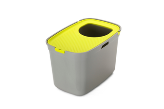 Top Entry Litter Box, Moderna Top Cat - Warm Grey/Lemon