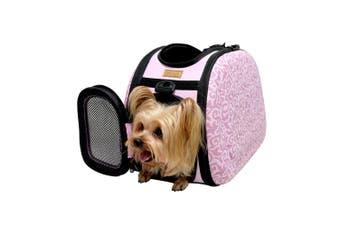 Ibiyaya Collapsible Travelling Shoulder Pet Carrier Bag, Baroque (Pink)