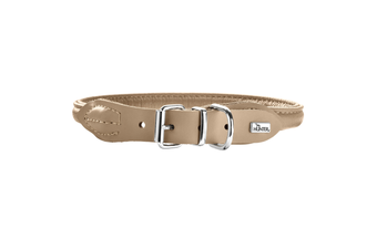 Hunter Rolled Elk Leather Dog Collar, Reduces Tangling & Irritation - Tan / 40 (33-37cm)