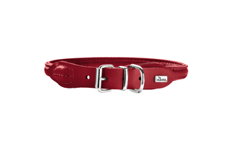 Hunter Rolled Elk Leather Dog Collar, Reduces Tangling & Irritation - Chili / 40 (33-37cm)