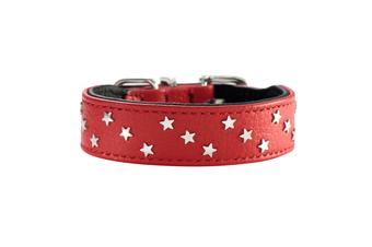Hunter Capri Mini Stars Leather Dog Collar, Small to Medium Breeds - Red/Black / 32 (24-28.5cm)
