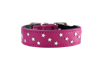 Hunter Capri Mini Stars Leather Dog Collar, Small to Medium Breeds - Raspberry/Black / 32 (24-28.5cm)