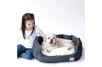 Round Dog Bed, Charcoal & Faux Sherpa - Large (75cm)