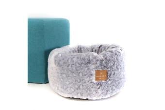 Cat Bed Super Soft Plush Donut, Grey