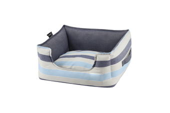 Dog Bolster Bed, Blue Stripes - Large (75cm)