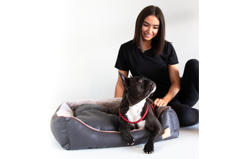 Dog Bolster Bed, Faux Leather & Fur Chocolate - Large (75cm)