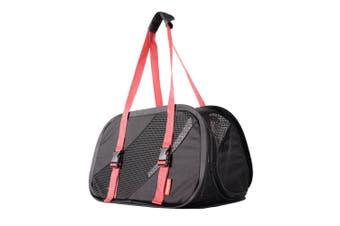 Ibiyaya Flying Pal Foldable Pet Travel Carrier Bag, Black/ Red