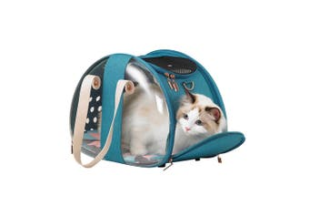 Ibiyaya Bubble Hotel Semi-Transparent Collapsible Cat Carrier, Turquoise