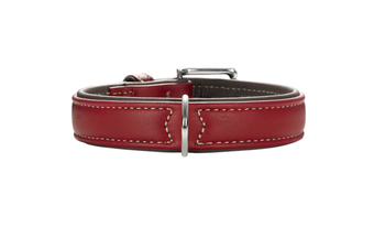 Hunter Canadian Elk Leather Dog Collar, Chili Red
