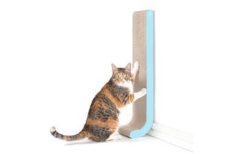 Wall Mounted Cat Scratch Post, Cardboard Scratcher, Aqua - Aqua