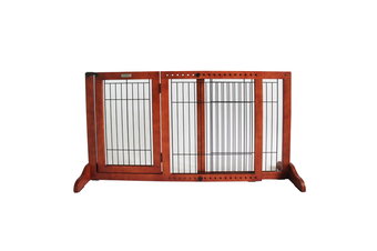Simply Plus Freestanding Pet Gate, Brown - Small
