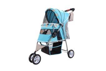 Ibiyaya Matte Edition Diagonal Stripes Pet Stroller, Ocean Blue