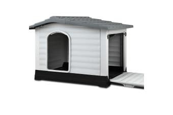Outdoor Dog House, Waterproof Plastic Kennel Large, Grey
