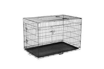 Foldable Dog Crate, Black Steel Pet Cage - Medium