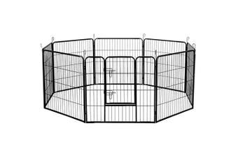 Heavy Duty Eight Panel Dog Playpen, Black