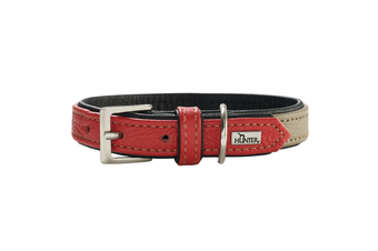 Hunter Capri Duo Colour Leather Dog Collar, Small to Medium Breeds - Stone Red / 30 (19-25cm)