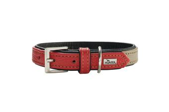 Hunter Capri Duo Colour Leather Dog Collar, Small to Medium Breeds - Stone Red / 45 (33-39cm)