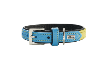 Hunter Capri Duo Colour Leather Dog Collar, Small to Medium Breeds - Linden Green Teal / 40 (29-35cm)