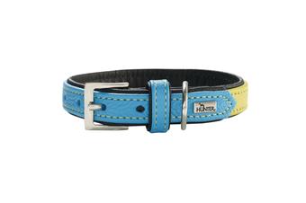 Hunter Capri Duo Colour Leather Dog Collar, Small to Medium Breeds - Linden Green Teal / 45 (33-39cm)