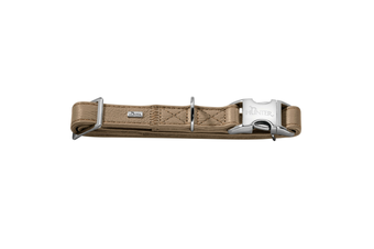 Hunter Capri Pearl Alu-Strong Leather Dog Collar Clasp Buckle - Stone / M (40-55cm)