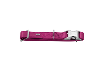 Hunter Capri Pearl Alu-Strong Leather Dog Collar Clasp Buckle - Raspberry / S (30-45cm)