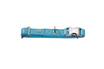 Hunter Capri Pearl Alu-Strong Leather Dog Collar Clasp Buckle - Teal / L (45-65cm)