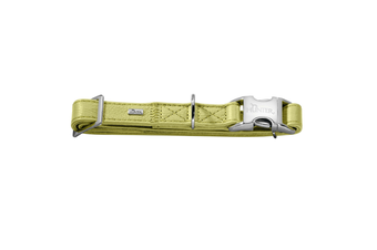 Hunter Capri Pearl Alu-Strong Leather Dog Collar Clasp Buckle - Linden Green / S (30-45cm)
