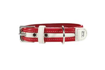 Hunter Collar Madeira Leather Dog Collar, Medium to Large Breeds - Red/White / 40 (25-32cm)