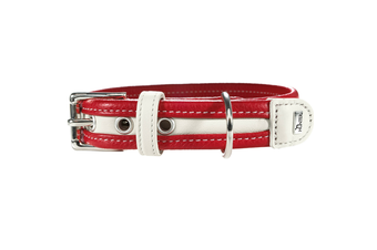 Hunter Collar Madeira Leather Dog Collar, Medium to Large Breeds - Red/White / 40 (25-32cm)