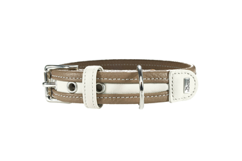Hunter Collar Madeira Leather Dog Collar, Medium to Large Breeds - Stone/White / 40 (25-32cm)