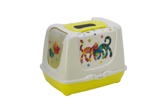 Moderna 'Friends Forever' Cat Litter Box with Odor Control - Fun Green / Jumbo 57cm