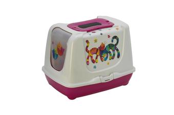 Moderna 'Friends Forever' Cat Litter Box with Odor Control - Hot Pink / Jumbo 57cm