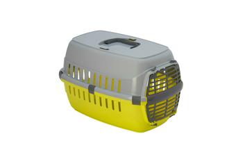 Moderna Roadrunner Cat Carrier Travel Crate, Plastic Door - Fun Green/Grey