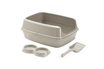 Moderna KitCat Starter Set - Cat Litter Box, Double Bowl & Scoop, Warm Grey